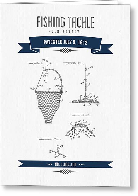 Fishing Mixed Media Greeting Cards - 1912 Fishing Tackle Patent Drawing - Navy Blue Greeting Card by Aged Pixel