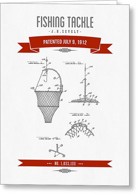 Fishing Mixed Media Greeting Cards - 1912 Fishing Tackle Patent Drawing - Red Greeting Card by Aged Pixel