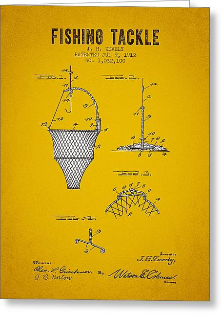 Fishing Rods Greeting Cards - 1912 Fishing Tackle Patent - Yellow Brown Greeting Card by Aged Pixel