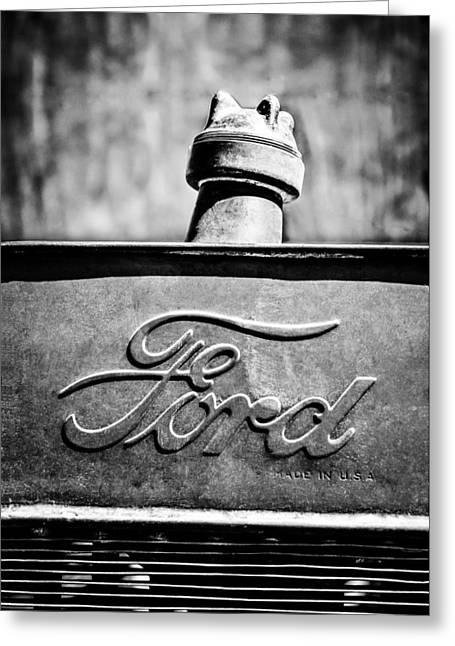 1912 Greeting Cards - 1912 Ford Hood Ornament - Emblem -0496bw Greeting Card by Jill Reger