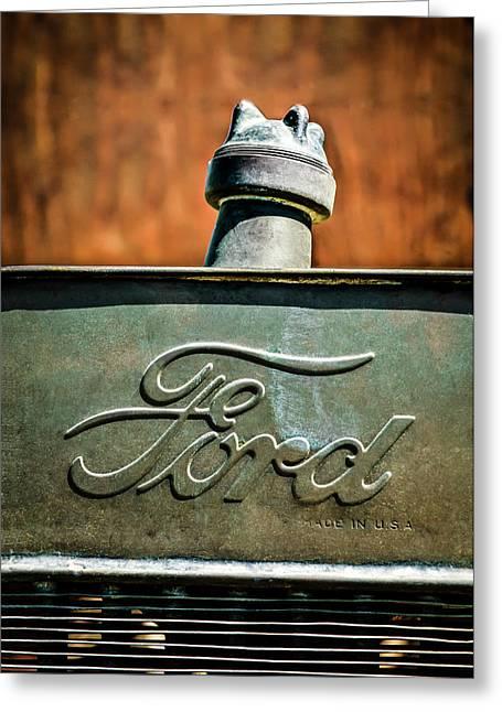 1912 Greeting Cards - 1912 Ford Hood Ornament - Emblem -0496c Greeting Card by Jill Reger