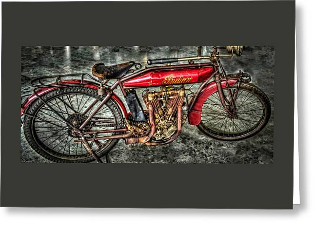 Art Galleries Greeting Cards - 1912 Indian Motorcycle Greeting Card by Thom Zehrfeld
