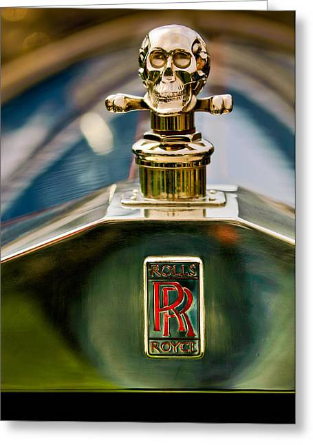 1912 Greeting Cards - 1912 Rolls-Royce Silver Ghost Cann Roadster Skull Hood Ornament Greeting Card by Jill Reger