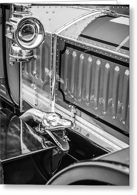 Limousine Greeting Cards - 1912 Rolls-Royce Silver Ghost Rothchild et Fils Style Limousine Snake Horn -0711bw Greeting Card by Jill Reger