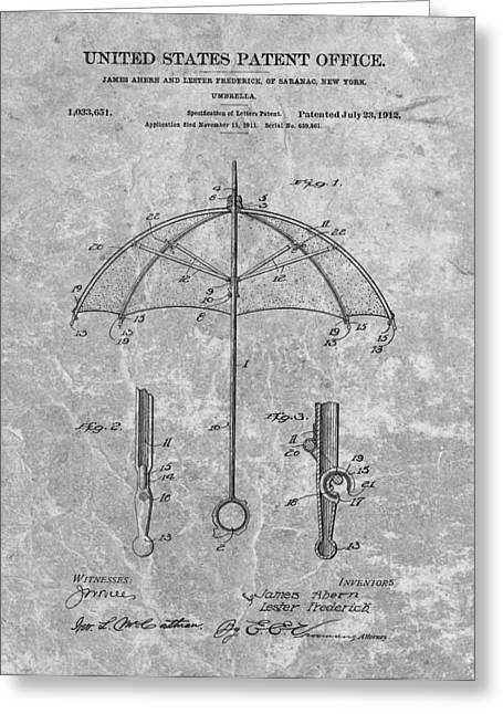Thunderstorm Drawings Greeting Cards - 1912 Umbrella Patent Charcoal Greeting Card by Dan Sproul