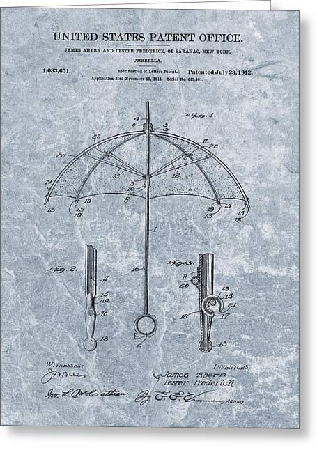 Thunderstorm Mixed Media Greeting Cards - 1912 Umbrella Patent Greeting Card by Dan Sproul
