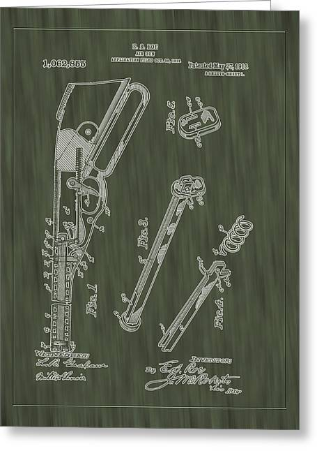 A Christmas Story Greeting Cards - 1913 Air Rifle Patent Art-Green Woodgrain Greeting Card by Barry Jones