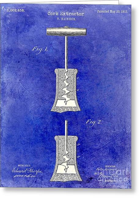 1913 Cork Extractor Patent Drawing 2 Tone Blue Greeting Card by Jon Neidert