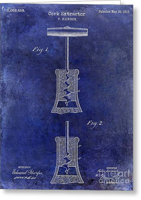 1913 Cork Extractor Patent Drawing Blue Greeting Card by Jon Neidert