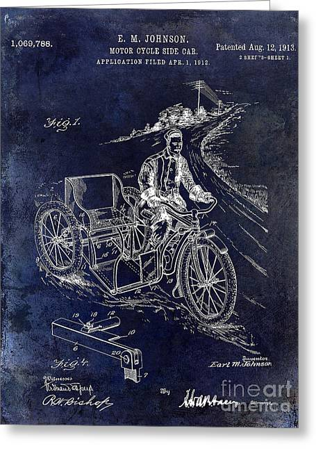 Honda Motorcycles Greeting Cards - 1913 Motorcycle Side Car Patent Blue Greeting Card by Jon Neidert