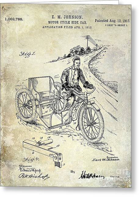 Honda Motorcycles Greeting Cards - 1913 Motorcycle Side Car Patent Greeting Card by Jon Neidert