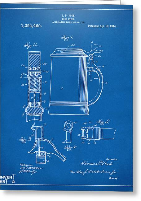 Stein Greeting Cards - 1914 Beer Stein Patent Artwork - Blueprint Greeting Card by Nikki Marie Smith