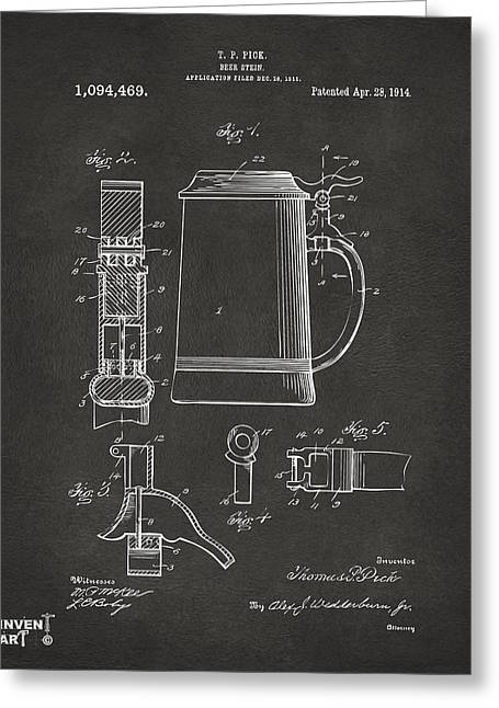 Stein Greeting Cards - 1914 Beer Stein Patent Artwork - Gray Greeting Card by Nikki Marie Smith