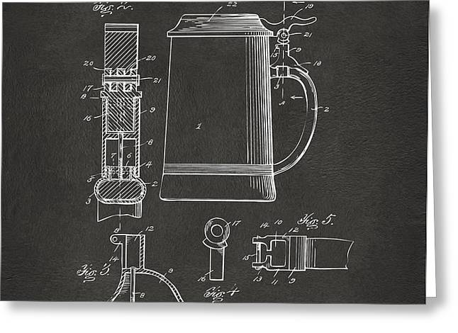 1914 Beer Stein Patent Artwork - Gray Greeting Card by Nikki Marie Smith