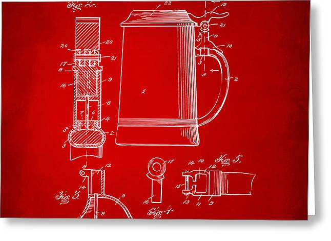 1914 Beer Stein Patent Artwork - Red Greeting Card by Nikki Marie Smith