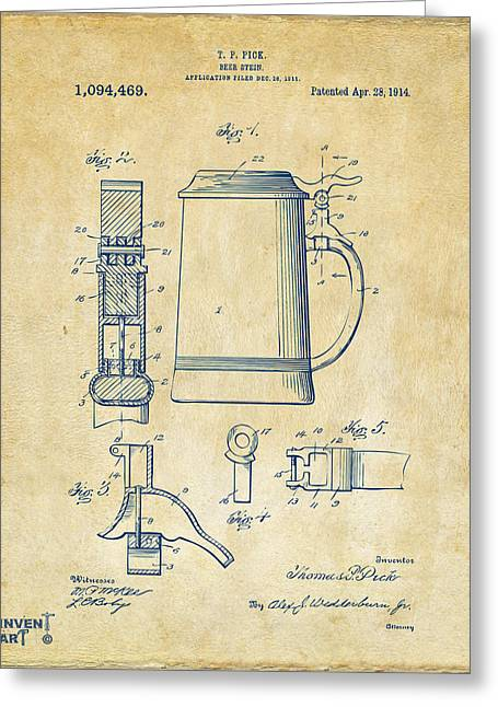 Stein Greeting Cards - 1914 Beer Stein Patent Artwork - Vintage Greeting Card by Nikki Marie Smith
