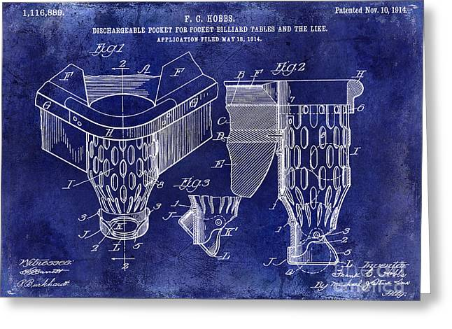 Billiard Greeting Cards - 1914 Billiard Pocket Patent Drawing Blue Greeting Card by Jon Neidert