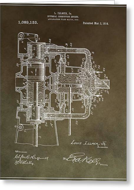 Car Part Mixed Media Greeting Cards - 1914 Engine Patent Greeting Card by Dan Sproul