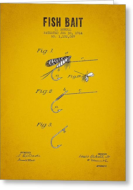 Trout Fishing Greeting Cards - 1914 Fish Bait Patent - Yellow Brown Greeting Card by Aged Pixel