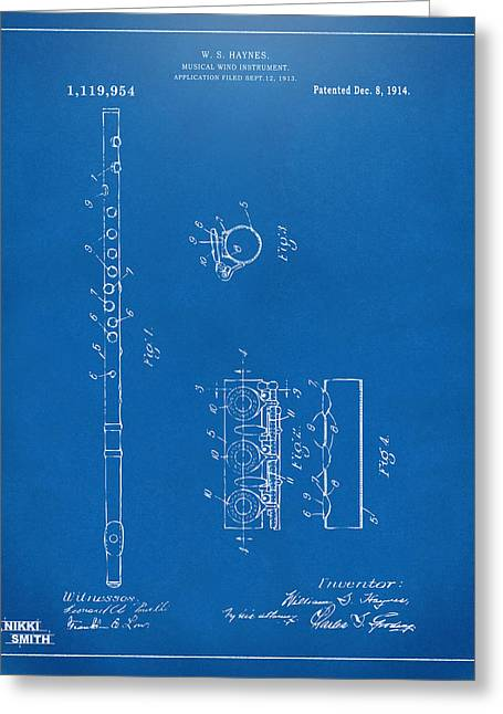 Marching Band Greeting Cards - 1914 Flute Patent - Blueprint Greeting Card by Nikki Marie Smith