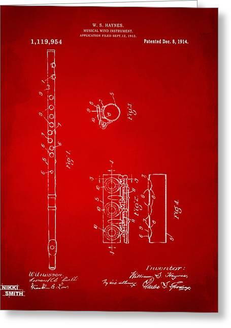 1914 Flute Patent - Red Greeting Card by Nikki Marie Smith