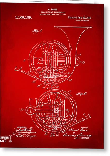 Marching Band Greeting Cards - 1914 French Horn Patent Art Red Greeting Card by Nikki Marie Smith