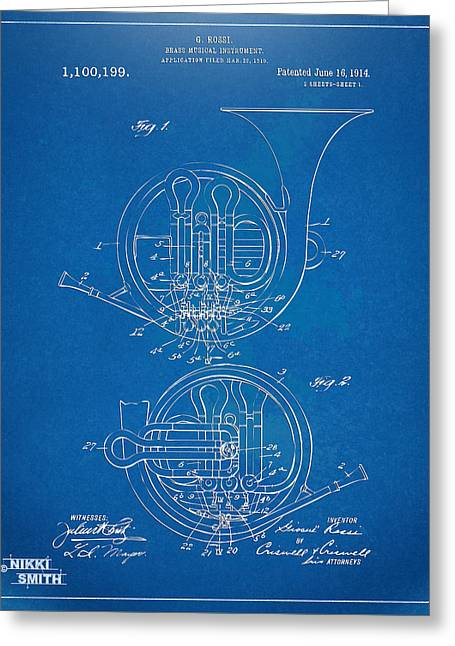 Conductor Greeting Cards - 1914 French Horn Patent Blueprint Greeting Card by Nikki Marie Smith