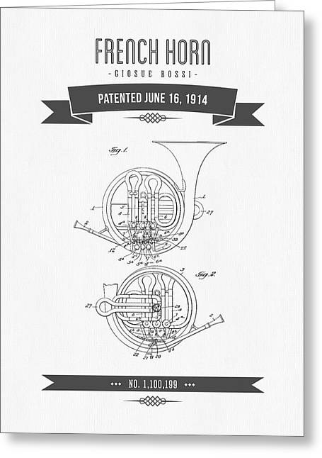 Instrument Mixed Media Greeting Cards - 1914 French Horn Patent Drawing Greeting Card by Aged Pixel