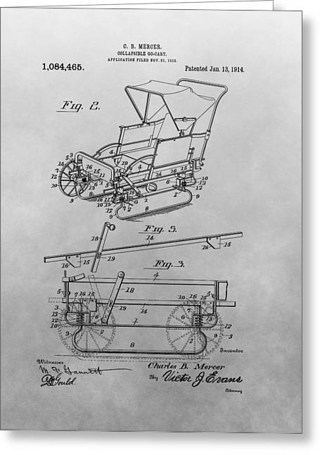 Go Cart Greeting Cards - 1914 Go Cart Patent Drawing Greeting Card by Dan Sproul