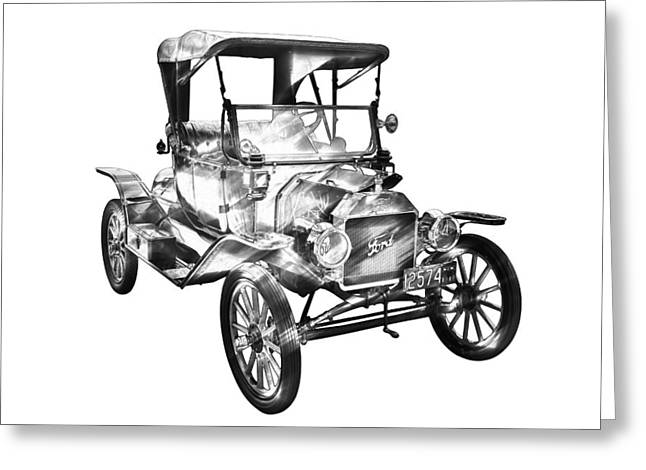 Classic Drawing Greeting Cards - 1914  Model T Ford Antique Car Illustration Greeting Card by Keith Webber Jr