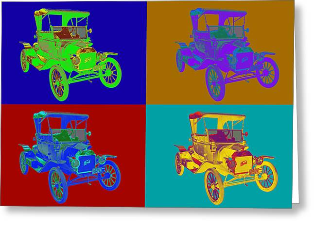 Model T Greeting Cards - 1914 Model T Ford Antique Car Pop Art Greeting Card by Keith Webber Jr