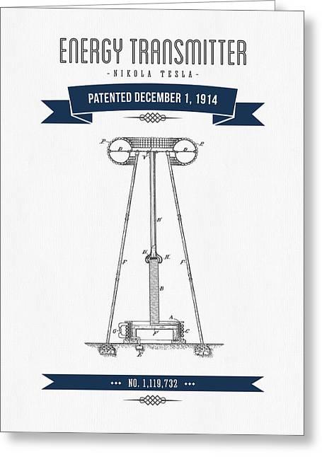 Generators Greeting Cards - 1914 Nikola Tesla Energy Trasmitter Patent Drawing - Retro Navy  Greeting Card by Aged Pixel