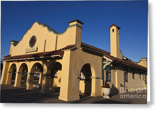 Northwestern Us Greeting Cards - 1914 Northwestern Pacific Train Depot Petaluma Greeting Card by Jason O Watson