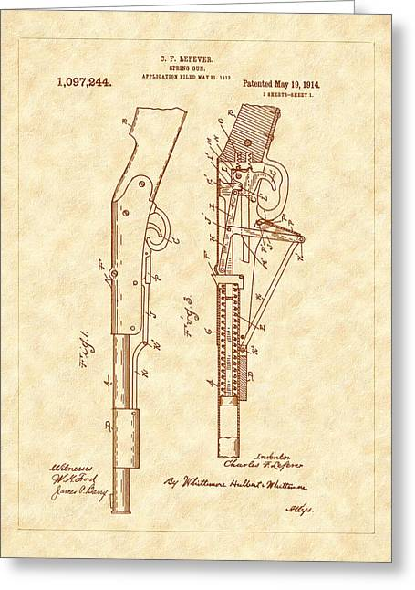 A Christmas Story Greeting Cards - 1914 Spring Gun Patent Art Greeting Card by Barry Jones