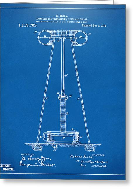Transmitter Greeting Cards - 1914 Tesla Transmitter Patent Artwork - Blueprint Greeting Card by Nikki Marie Smith