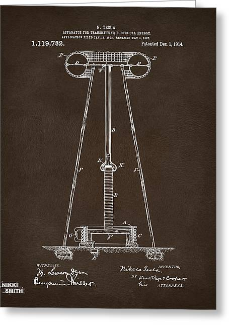 Transmitter Greeting Cards - 1914 Tesla Transmitter Patent Artwork Espresso Greeting Card by Nikki Marie Smith