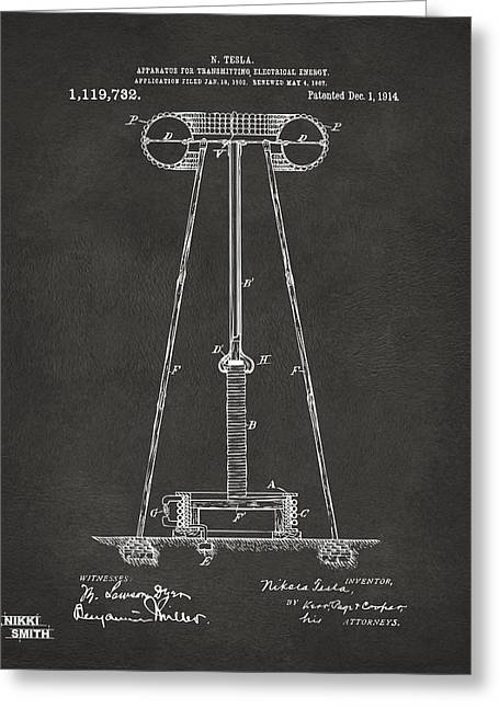 Transmitter Greeting Cards - 1914 Tesla Transmitter Patent Artwork - Gray Greeting Card by Nikki Marie Smith