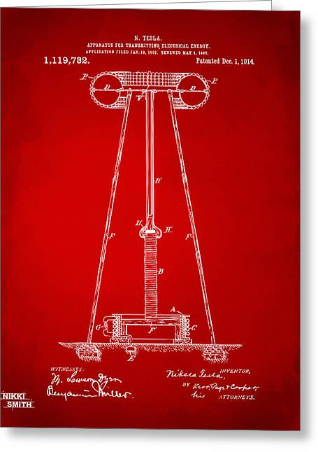 Transmitter Greeting Cards - 1914 Tesla Transmitter Patent Artwork - Red Greeting Card by Nikki Marie Smith