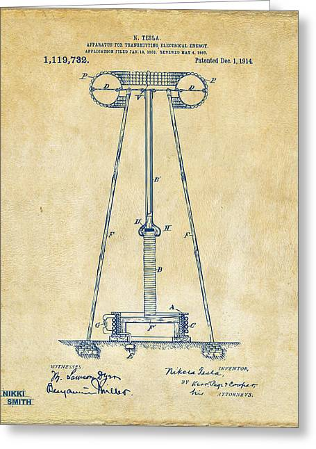 Transmitter Greeting Cards - 1914 Tesla Transmitter Patent Artwork - Vintage Greeting Card by Nikki Marie Smith