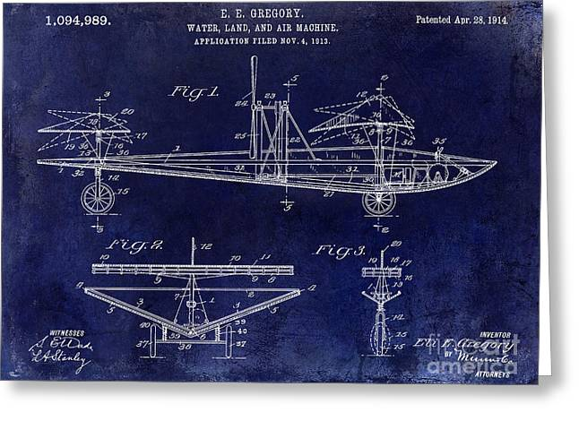 Vintage Aircraft Greeting Cards - 1914 Water Land and Air Machine Patent Blue Greeting Card by Jon Neidert