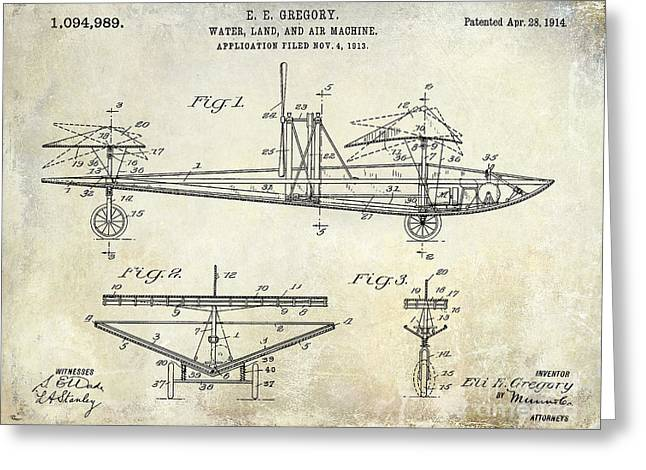 Vintage Aircraft Greeting Cards - 1914 Water Land and Air Machine Patent Greeting Card by Jon Neidert