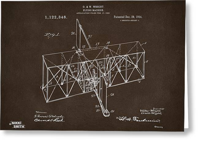 Conversations Greeting Cards - 1914 Wright Brothers Flying Machine Patent Espresso Greeting Card by Nikki Marie Smith
