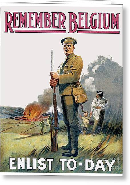 Enlistment Greeting Cards - 1915 - British Enlistment Poster - Remember Belgium - World War One - Color Greeting Card by John Madison
