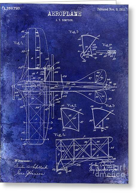 Vintage Aircraft Greeting Cards - 1915 Aeroplane Patent Drawing Blue Greeting Card by Jon Neidert