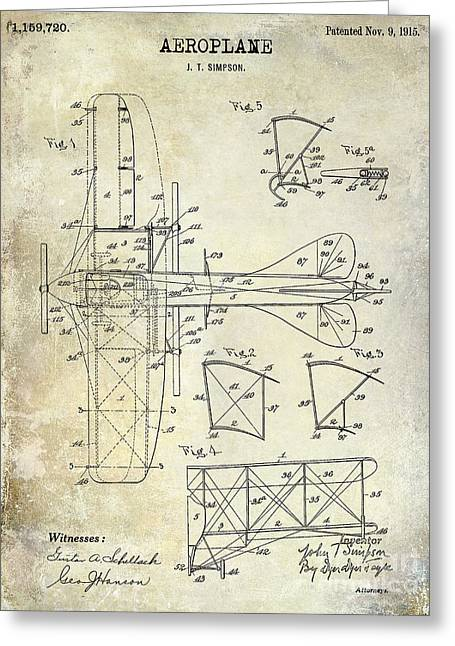 Vintage Aircraft Greeting Cards - 1915 Aeroplane Patent Drawing Greeting Card by Jon Neidert