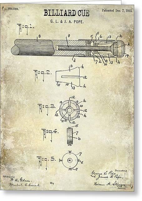 Mans Room Greeting Cards - 1915 Billiard Cue Patent Drawing  Greeting Card by Jon Neidert
