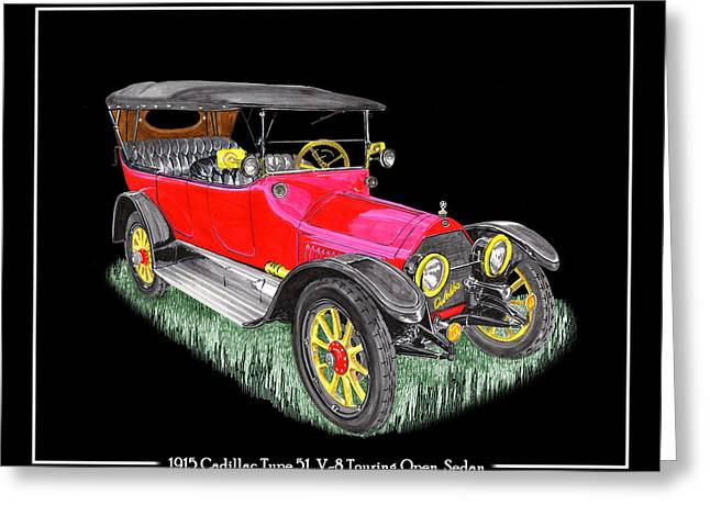 Replacing Greeting Cards - 1915 Cadillac Type 51 V 8 Poster Greeting Card by Jack Pumphrey