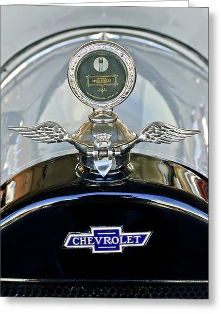 Vintage Hood Ornament Greeting Cards - 1915 Chevrolet Touring Hood Ornament Greeting Card by Jill Reger