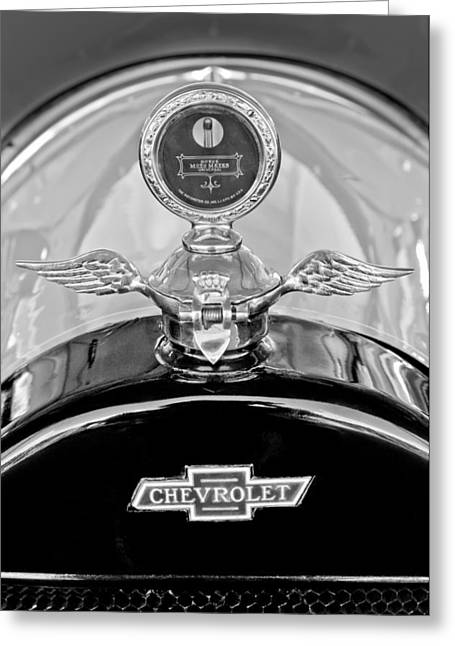 1915 Greeting Cards - 1915 Chevrolet Touring Hood Ornament - Moto Meter Greeting Card by Jill Reger