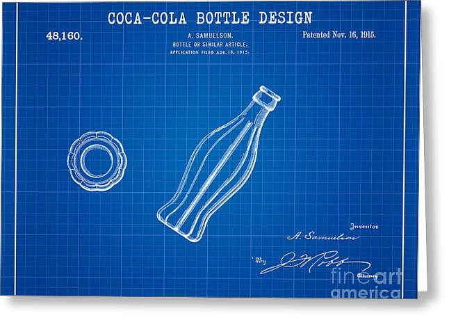 Kelly Digital Art Greeting Cards - 1915 Coca Cola Bottle Design Patent Art 2 Greeting Card by Nishanth Gopinathan